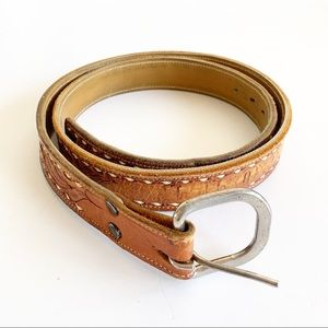 Vintage Tooled Leather Belt Scott Silver Buckle 38